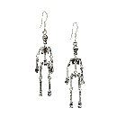 Halloween Dangly Sterling Silver Skeleton Earrings with Moving Joints