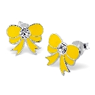 Sweet Yellow Enamel Children's Sterling Silver Ribbon Earrings with a Crystal in Center