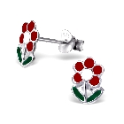 Children\'s Red and Green Flower Earrings in Sterling Silver