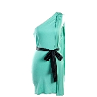 Mint Colored Draped One Shoulder, Body Hugging Dress with Black Belt, Small