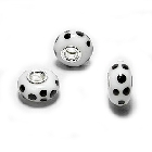 Cheneya Glass Bead in White with Black Spots