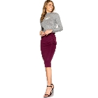 She + Sky, Plum Fitted Scuba Fabric Midi Pencil Skirt w/Front Ruffle, Large
