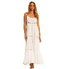 ELAN White Maxi Spaghetti Strap Long Dress with Thin Crochet Panels, Medium
