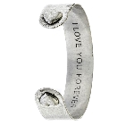 "Silver Tone Bangle Cuff with ""I Love You Forever"" Message and Heart Tip Accents"