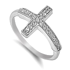 Glimmering Sterling Silver Sideways Cross with Cubic Zirconias, Size 7