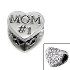 """Cheneya \""""#1 Mom\"""" Sterling Silver Heart Bead with Crystal Stones"""
