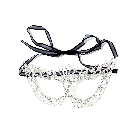 Silver Rhinestone Crystal Encrusted Cutout Costume Party Masquerade Ball Eye Mask