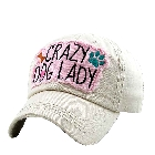 """Vintage Look Washed Stone White Denim Baseball Cap Hat with \""""Crazy Dog Lady\"""" Embroidered Patch"""
