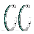 Brass Earrings Rhodium Women Top Grade Crystal Emerald