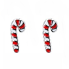 Children\'s Candy Cane Stud Earrings with Red and White Colored Enamel
