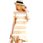 Beige and White Colorblock Stripe Shirt Knit Dress with Ruffle Hem, Small