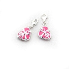 Pink Enamel and Sterling Silver Heart Charm