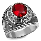 Stainless Steel US Marine Corps USMC Military Ring with Red Stone, Size 10