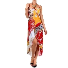Colorful Mixed Print Silk High-Low Style Wrap Dress with Key Hole Beaded Halter and Braided Rope Straps Top, Size XXL