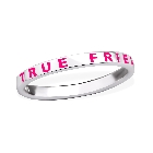 """Sterling Silver Dark Pink Letter """"True Friends"""" BFF Promise Ring Band, Size 6"""