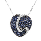 Diamond and Sapphire Heart Pendant Necklace in 10K White Gold, 2.35 ctw