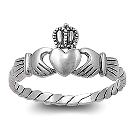 Irish Love, Loyalty and Friendship Claddagh Ring in Sterling Silver, Size 8