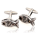 Silver Tone Fish Novelty Cufflinks with Movable Gold Balls Inside