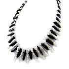 """Dramatic Freshwater Pearl and Onyx Necklace, 18-19\"""""""