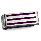 Silver Tone High Polished Stainless Steel Money Clip with Purple Stripe Design