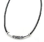 Sterling Silver and Rubber Mens Necklace