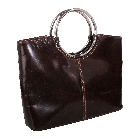 Barberini\'s Luxurious Italian Leather, Metal Handle Handbag in Brown