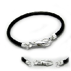 Cheneya Leather and Sterling Silver Bracelet