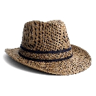 Mens Wide Brim Dark Brown Panama Hat with a Wide Band, Size L/XL