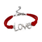 Red ultra suede bracelet with LOVE adornment