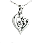 Family of Four Heart-Shaped Sterling Silver Pendant, 18 Inch