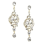 Clear White Crystal Chandelier Statement Earrings in Gold Tone