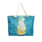 Two Tone Burlap Large Cotton Tote Beach Bag in Turquoise with Gold Foil Pineapples with Rope Handles