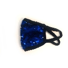 Blue Shiny Reversable Sequins Face Mask with Soft Lining
