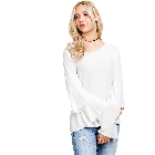 Blushing Heart Loose Fit White Tiered Ruffle Bell Sleeve Blouse Top, Large