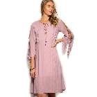 She + Sky Dusty Rose Slit Sleeve Tie & Lace Up Front Corset Midi Dress, Small