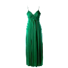 Green Spaghetti Strap Maxi Dress with Twist Shirring Detail, Small