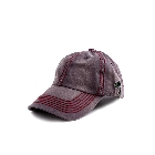 Gray Washed Denim Baseball Cap Hat w/ Palm Tree Accent & Thick Red Stitching