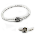Cheneya Sterling Silver Bracelet with Round LOVE Clasp, 7""