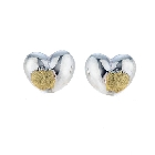14K Gold Vermeil and Sterling Silver Heart Earrings