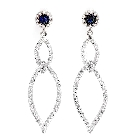 14K White Gold, Diamond and Sapphire Chandelier Earrings, 0.95ctw