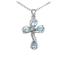 Sky Blue Topaz and Sterling Silver Cross Pendant , 18""