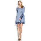She + Sky Slate Blue Acid Wash Lace Bell Sleeve Loose Casual Swing Dress, Large