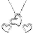 """Floating Heart Rhodium Plated Brass Pendant with Earrings Set, 16\"""" Plus 2\"""" Extension"""