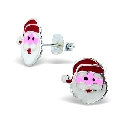 Children\'s Sterling Silver and Enamel Santa Earrings