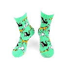 Womens Kitty Cat Novelty Socks in Green, Black, Yellow and White