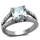 Stainless Steel AAA Grade Square Cubic Zirconia Wedding Engagement Ring, Size 9