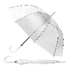 Clear Seethrough White Polka Dotted Umbrella with Automatic White Handle