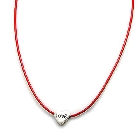 "Vibrant Red Leather Necklace with Sterling Silver ""Love"" Heart"