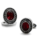 Stainless Steel Oval US Marine Corps Military Cufflinks with Red Stone