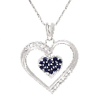 KREMENTZ Diamond, Ruby, and Sapphire Swivel Heart Necklace in 14K White Gold, 0.65ctw